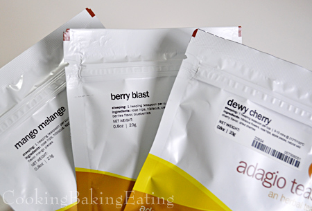 Adagio Berry Blast, Dewy Cherry, and Mango Melange Herbal Tea